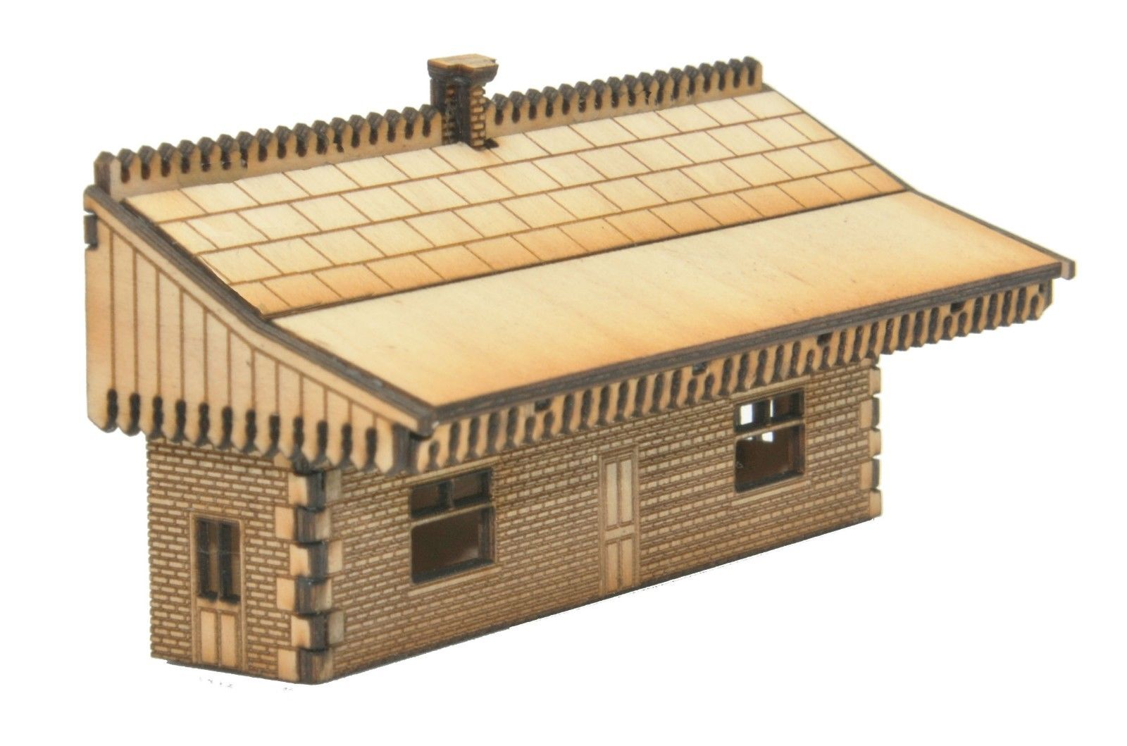 N-ST004 Mid Sized Low relief Station Building N Gauge Laser Cut Kit