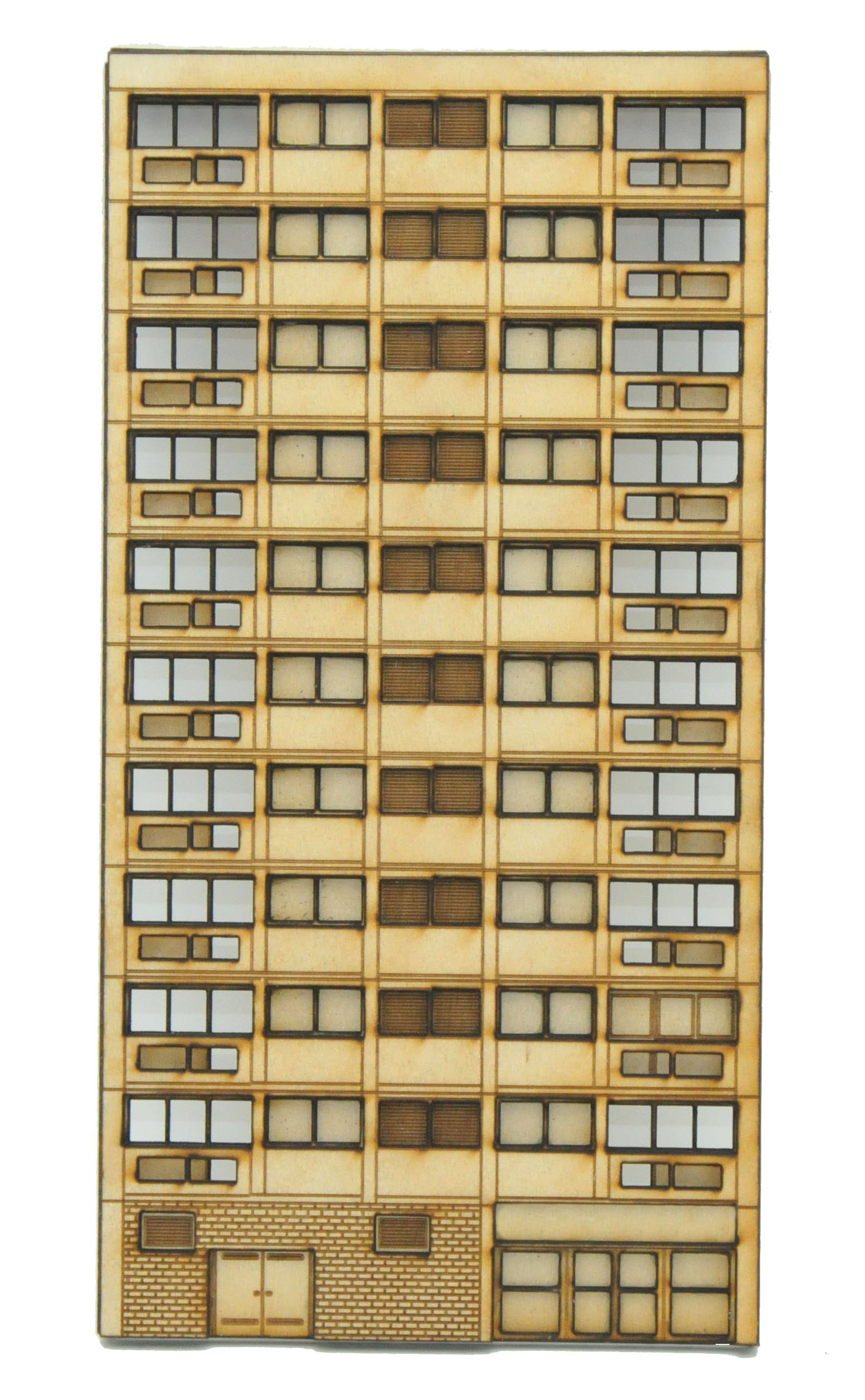 N-FL002 Right Hand Low Relief Block of Flats N Gauge Laser Cut Kit